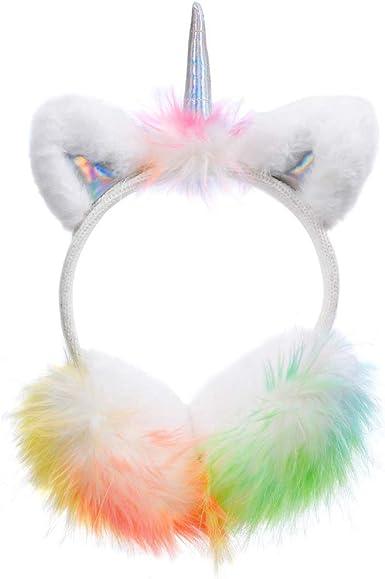 Cute Unicorn Earmuffs for Kids Girls Women Plush Soft Outdoor Winter Warm Ear Warmers Adjustable Foldable Ear Muffs