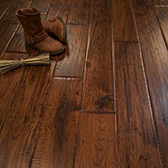 "This 5"" Hickory Canyon Crest Character Hand Scraped Prefinished Solid hardwood flooring is perfect for those wanting the natural characteristics of a real hardwood floor. Our 3/4"" solid prefinished wood flooring has a 30 Year Warranty Aluminu..."