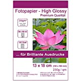 100 Blatt 13x18cm 230g/m² Fotopapier Hglossy wasserfest Photopapier hochglänzend high glossy wasserfest photopaper photo paper glänzend 230g/m² 230g/qm 13x18 cm 13 x 18 cm