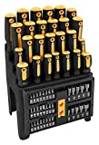Performance Tool W1731 Screwdriver and Bit Set with Rack, Yellow/Black, 61-Piece