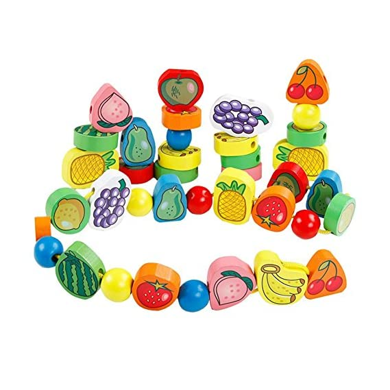 Trinkets & More - 56 Piece Fruit Bead Game Lacing Toy Stringing Beading Game Early Educational Toys Kids 3+ Years
