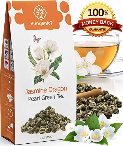 (Organic Jasmine Green Tea Pearls Authentic Imperial Dragon Pearls Flowering Strings of Loose Leaf Green Tea that Brings you Focus with Stress Relieving Jasmin Aroma (04))