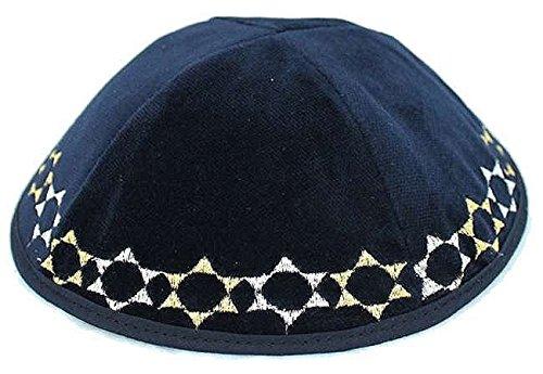 Kippah-Kipah-Yarmulke-Magen-Davi-Star-of-David-Design-Navy-Silver-Gold-Velvet
