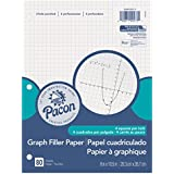 "Pacon Filler Paper, White, 3-Hole Punched, 1/4"" Grid Ruled 8"" x 10-1/2"", 80 Sheets"