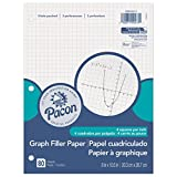 Pacon Filler Paper, White, 3-Hole Punched, 1/4'' Grid Ruled 8'' x 10-1/2'', 80 Sheets