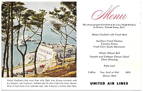 Postcard United Airlines Menu at Denver, Colorado~104040