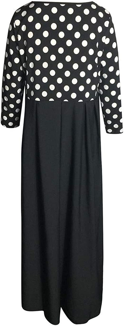 Babaseal Womens Print Plus Size Casual High Waisted 3//4 Sleeve Beach Party Midi Dress