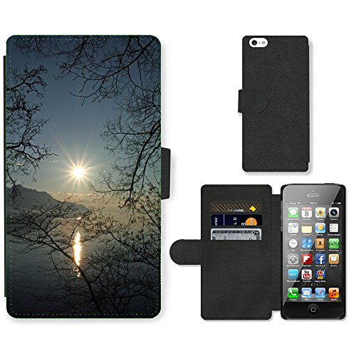 PU Leather Cover Custodia per // M00421556 Lac Léman en Suisse Coucher de soleil // Apple iPhone 5 5S 5G