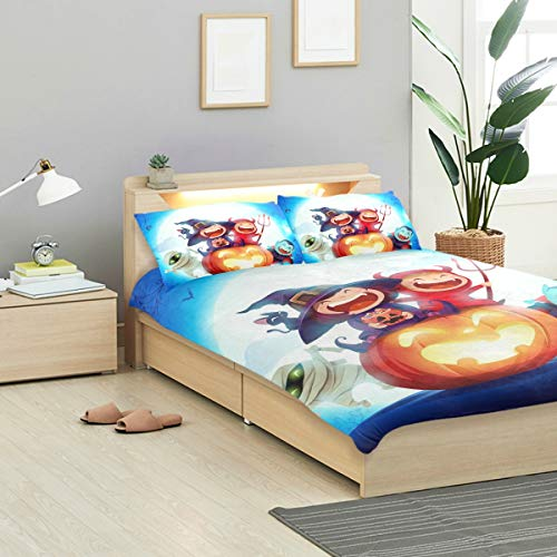 CANCAKA Halloween Duvet Cover Set Halloween Kids Costume Party Group Sitting Design Bedding Decoration King Size 3 PC Sets 1 Duvets Covers with 2 Pillowcase Microfiber Bedding Set Bedroom Decor Acces -