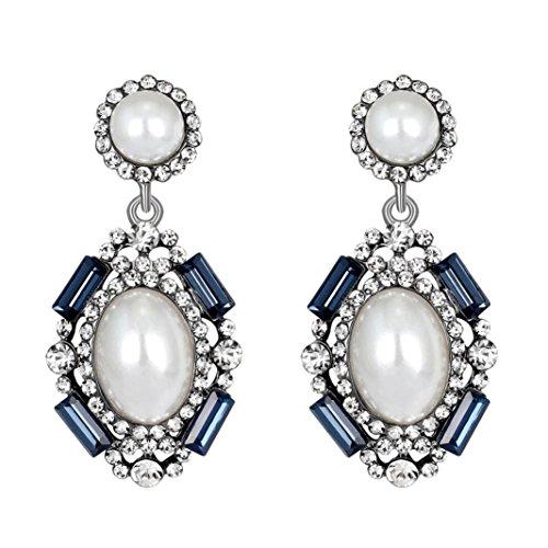 Earrings Dragonfly Sapphire (Yeefant 1 Pair Pendant Shaped Diamond Encrusted Love Heart Jewelry Earrings for Woman,Blue)