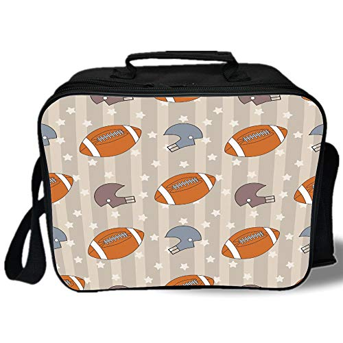 (Insulated Lunch Bag,Football,Faded Stars and Stripes with Classical Sports Symbols USA Retro Tile,Orange Mauve Slate Blue,for Work/School/Picnic, Grey)