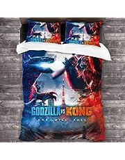 WFQTT Godzilla vs King Kong duvet cover set, Children's duvet cover,100% microfibre, used in bedroom, children's room,1 duvet cover + 2 pillowcases (1,180x220,50x75cmx2)