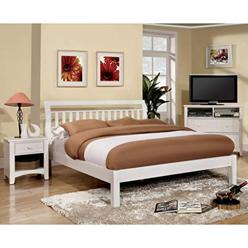 - Furniture of America Perillean Wood Slatted Traditional Platform Bed White California King