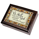 Be Still and Know that I am God Religious Psalm 46:10 Italian Style Burlwood Finish Decorative Jewel Lid Musical Music Jewelry Box - Plays On Eagle's Wings by Cottage Garden