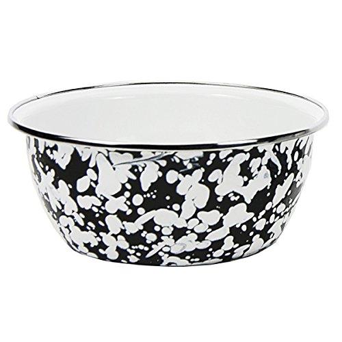 Enamelware - Black Swirl Pattern - 3 Cup Salad Bowl