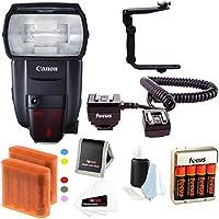 Canon Speedlite 600EX II-RT Flash w/ Batteries & Flash Bracket Bundle