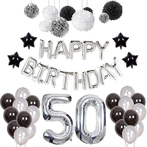 Puchod 50 Birthday Decorations for Men, Happy Birthday Balloons Party Supplies Set Foil Latex Balloons Banner Black White Silver Paper Pom Poms -