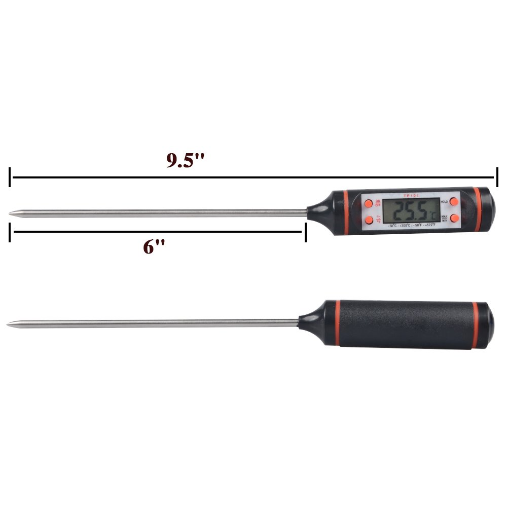 BBQ Thermometer,Alotpower Digital Cooking Thermometer with Instant Read, Long Probe, LCD Screen, Anti-Corrosion for Kitchen Food, Grill,Milk and Bath Water