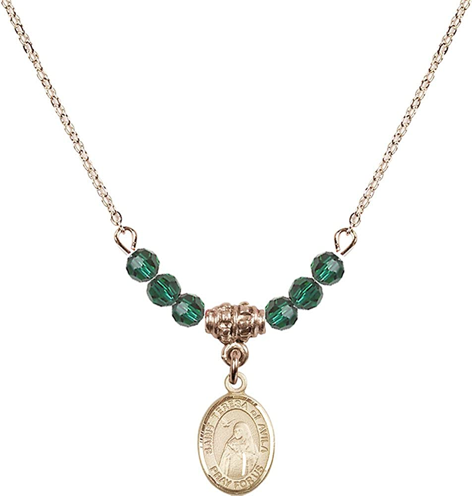 18-Inch Hamilton Gold Plated Necklace with 4mm Emerald Birthstone Beads and Gold Filled Saint Teresa of Avila Charm.