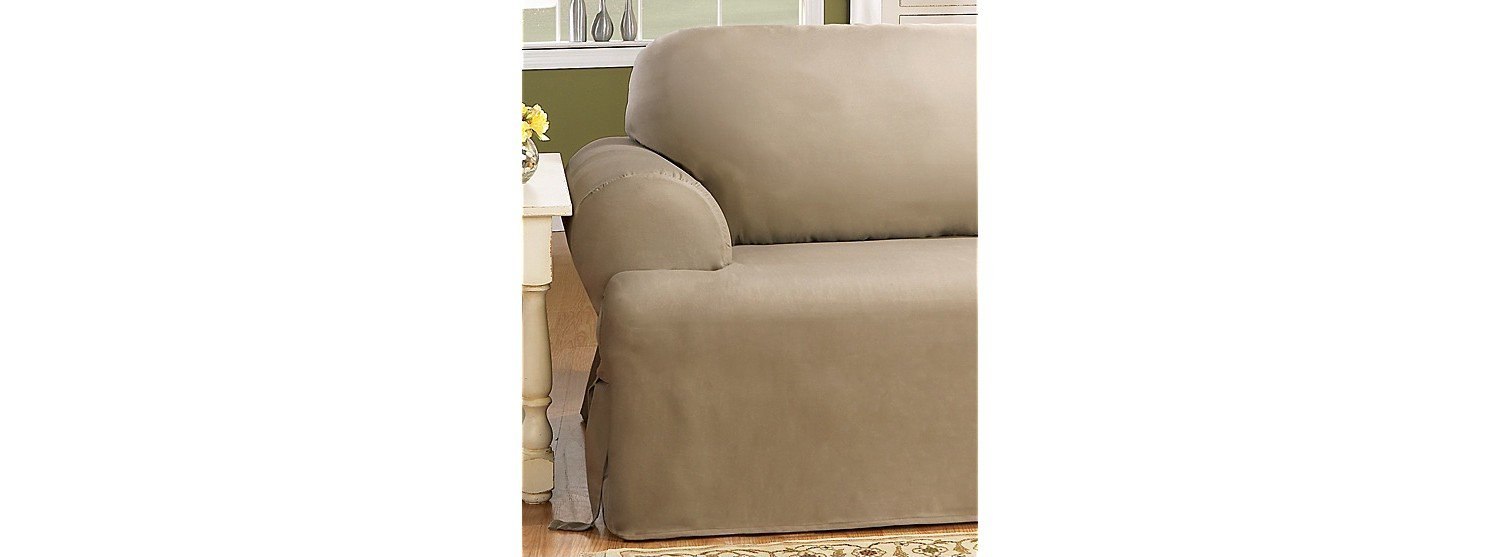 Amazon.com: Sure Fit Duck Solid T Cushion   Chair Slipcover   Natural  (SF28609): Home U0026 Kitchen