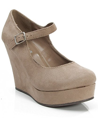 e76d80afc8f Soda Romie-S Faux Suede Closed Almond Toe Mary Jane Platform Wedge ...