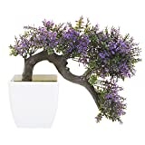 MyGift Purple Blossom Artificial Bonsai Tree, Faux Potted Plant w/ White Planter