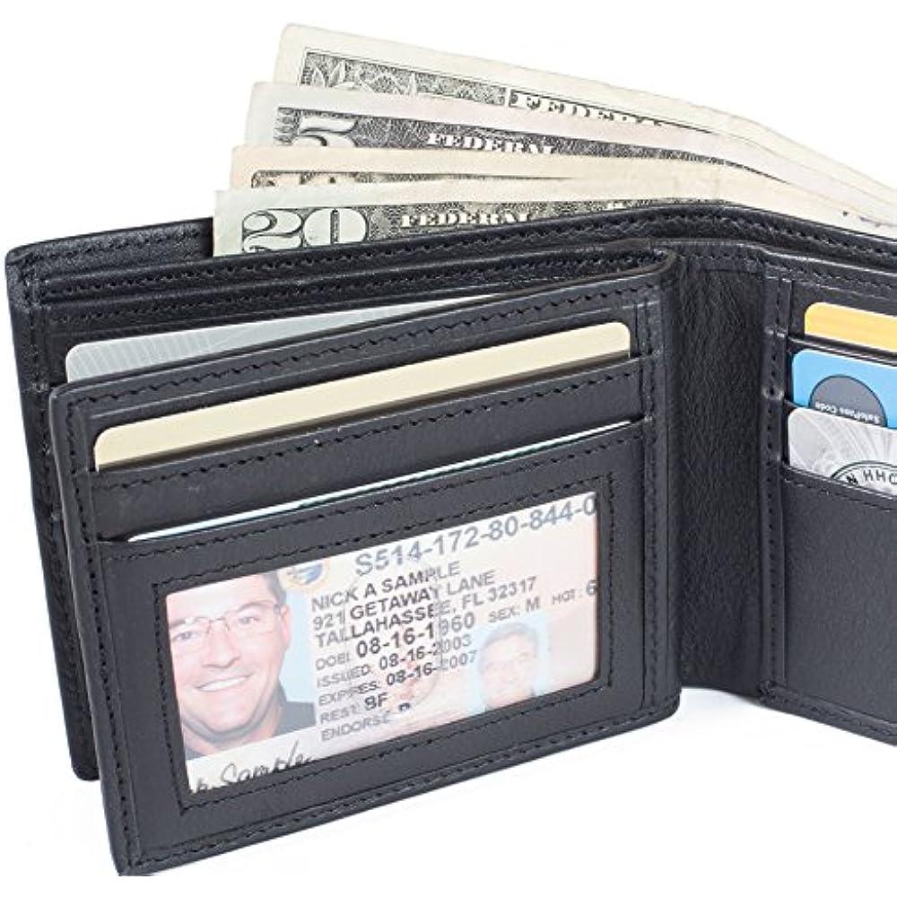 RFID Mens 10 Slot Bifold Wallet in Genuine Leather RFID Blocking Wallets