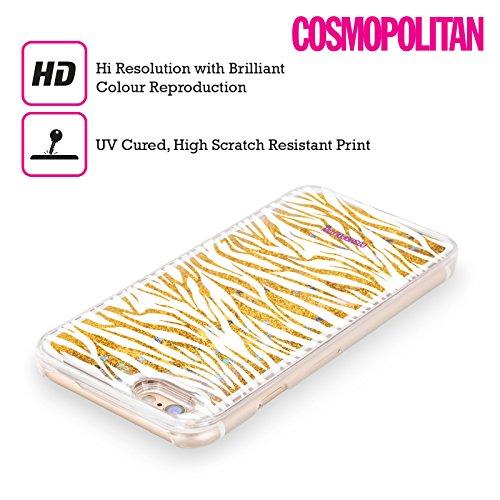 Official Cosmopolitan White Zebra Animal Skin Patterns Gold Liquid Glitter Case Cover for Apple iPhone 6 / 6s