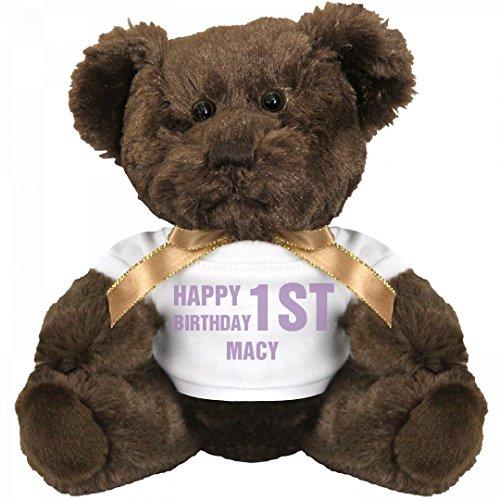 Happy 1st Birthday Macy: Small Teddy Bear Stuffed - Macy's Birthday