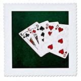 3dRose Alexis Photo-Art - Poker Hands - Poker Hands Two Pairs King, Nine - 20x20 inch quilt square (qs_270530_8)