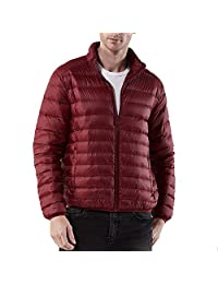 Charberry Mens Casual Stand Collar Nylon Warm Coat ,Winter Warm Zipped Solid Fleece Cotton-Padded Jacket