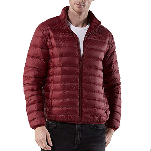 GOVOW Nylon Jackets for Men Blue Zipped Thick Solid Fleece Coat Cotton-Padded Winter Warm Jacket(US:16/CN:XXXL,Red) from GOVOW