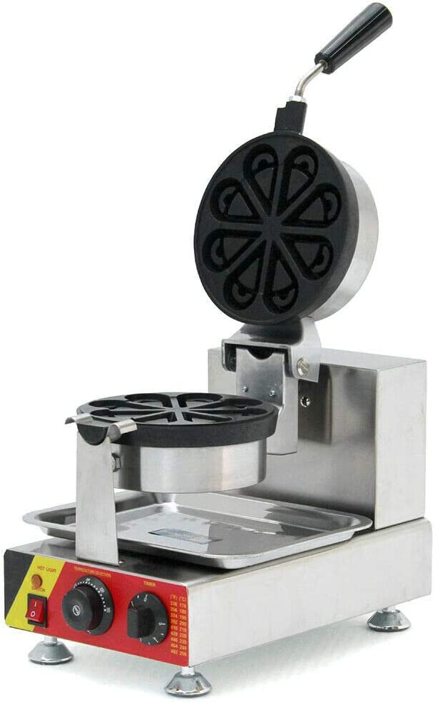 Non-stick Round Electric Waffle Maker Stainless Steel Rotating Waffle Maker for Commercial Household Making Machine