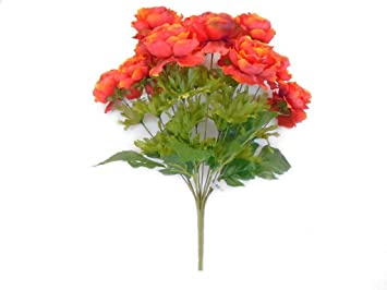 Amazon phoenix silk ranunculus bush 12 artificial silk flowers phoenix silk ranunculus bush 12 artificial silk flowers 18quot bouquet 8206 orange mightylinksfo