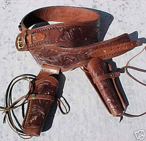 NEW! Brown Genuine Leather Double Western Single Action Gun Tooled Holster Cowboy SASS Rig. In 38 357 Cal Ammo Loops By GUNS4US***