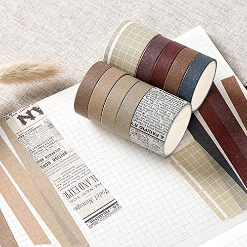 EnYan 10mm Wide Japanese Masking Decorative Tapes for Bullet Journal Planners DIY Crafts and Arts Scrapbooking Adhesive 5 Rolls Basic Collection Decoration Washi Tape Set