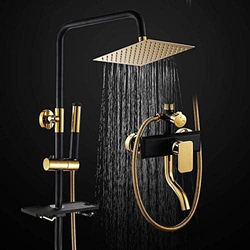 ブラックゴールドシャワーセットハンドヘルドシャワーシステムバスルームスクエアトップスプレー銅ホットとコールド蛇口棚3機能
