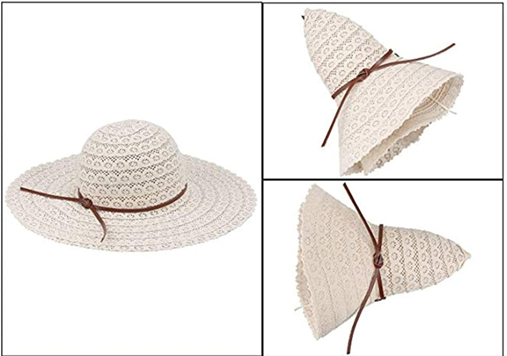 Drawihi Damen Sommer Sonnenhut Anti UV Strohhut Strandhut Sonnenschutz mit Bowknot Streamer Dekoration 58-60 cm