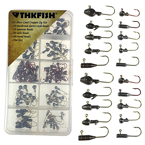 thkfish 1/32oz-1/9oz Jig Heads for Fishing Saltwater Freshwater Tube Round Darter Minnow Crappie Various Shapes Fishing Jigs for Bass Walleye Crappie 120 Pieces/Pack