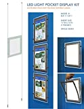 Suspended LED Light Pocket for Real Estate Window Displays - Cable Suspended Poster Display Kit with 1 (one) LED Light Pocket - Single Sided (Insert Size 11''W x 14''H)
