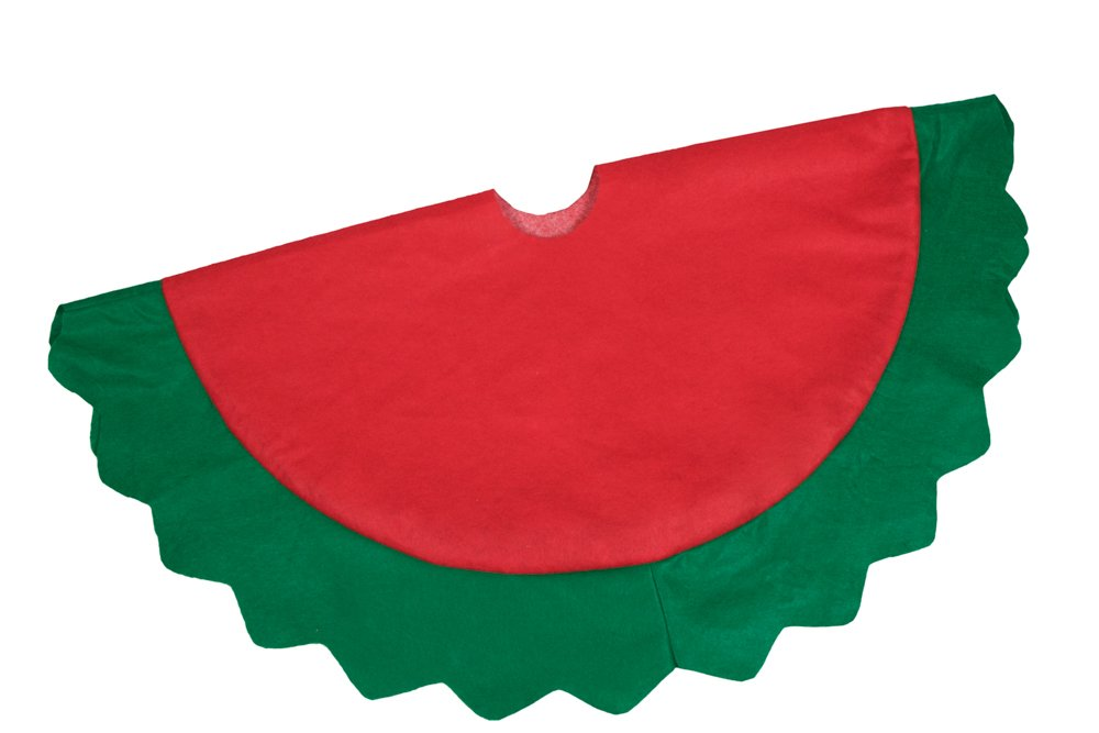 Helps Contain Needle and Sap Mess on Floor 32 Diameter Clever Creations Red and Green Christmas Tree Skirt Red Cover with Wavy Cut Green Border Traditional Theme Festive Holiday Design