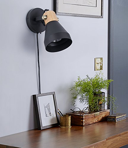 Minimalist Plug-in Wall Sconce Modern Black Wall Lamp with Cord Contemporary Rotatable Wall Light Fixture for Bedroom Living Room Bedside Lamp by BSM (Image #5)