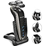 Kurener Electric Shaver Razors for Men Rechargeable 100% Waterproof Rotary for Shaving With Nose Trimmer Sideburns Trimmer Face Cleaning Brush
