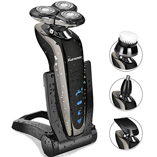 Kurener Electric Shaver Razor Beard Trimmer Rotary Shaver Rotation razor Full body water wash razor Wet/Dry Rechargeable Waterproof