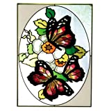 Three Butterflies Yellow Red Art Glass Panel Wall Window Hanging Suncatcher 14 x 10