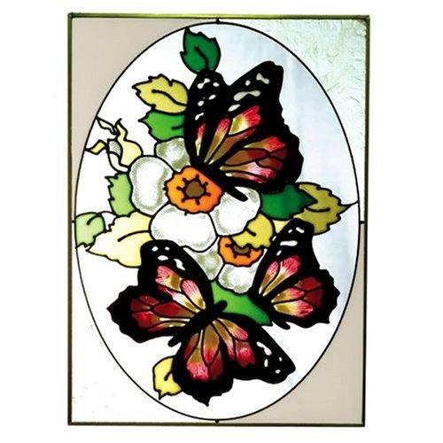 Red Stained Glass Suncatcher - Three Butterflies Yellow Red Art Glass Panel Wall Window Hanging Suncatcher 14 x 10