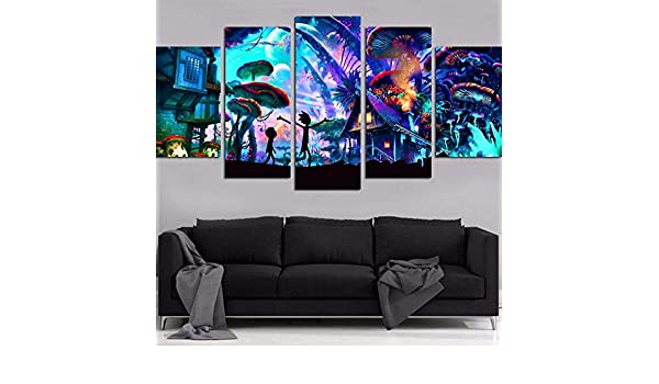 Amazon.com: Jewh (5 Pieces Canvas Wall Art Modular Pictures Home Decor - Rick and Morty Paintings Living Room HD Printed Animation Posters Framework ...