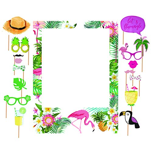 SWYOUN Tropical Theme Photo Frame Photo Booth Sets Hawaiian Frame Picture Props Summer Flamingo Pineapple Photo Props Luau Party Supplies(Pack of 17)