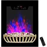AKDY 19 in. Wall Mount Electric Fireplace Heater in Black with Tempered Glass, Pebbles and Remote Control