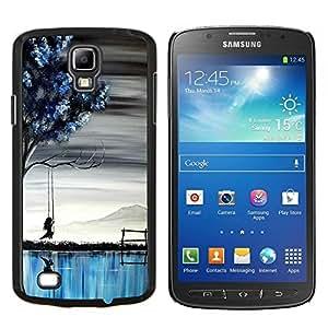 LECELL--Funda protectora / Cubierta / Piel For Samsung Galaxy S4 Active i9295 -- Pintura Lago Chica del arte del árbol Profundo --